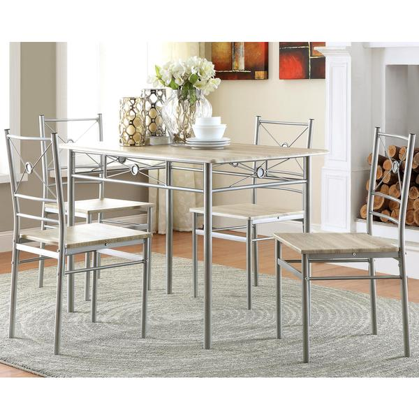 Glanna Comtemporary X Motifs Brushed Silver 5-piece Dining set