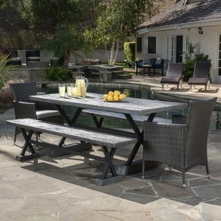 Numana Outdoor 5 Piece Lightweight Concrete Dining Set with Benches by Christopher Knight Home