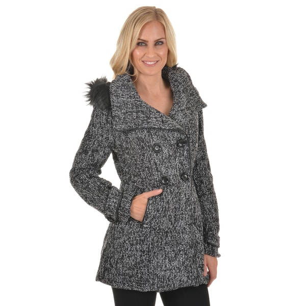 Journee Collection Junior's Hooded Double Breasted Tweed Coat
