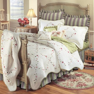 Felicity Cotton Embroidered Floral Quilt