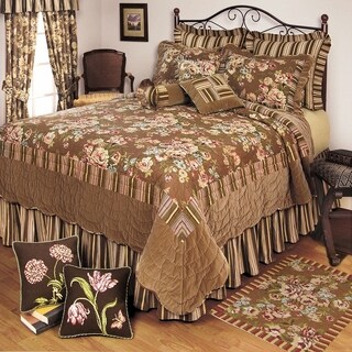 Vintage Rose Cotton Pieced Floral Quilt with Velvet Accents