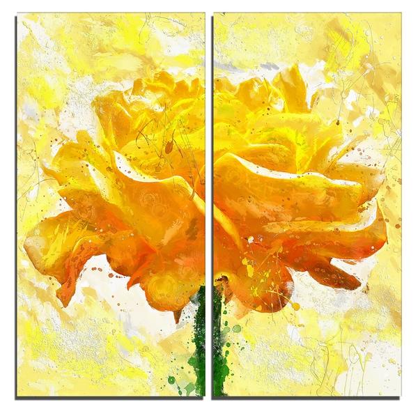 Design Art 'Yellow Rose' Floral Canvas Art Print