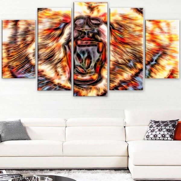 Design Art 'Brash Bear' Large Animal Canvas Artwork