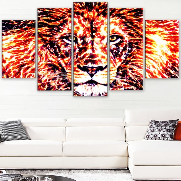 Design Art 'Lively Lion' Large Animal Canvas Artwork