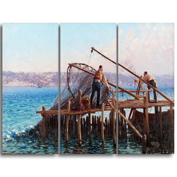 Design Art 'Fausto Zonaro - Fishermen Bringing in the Catch' Sea & Shore Canvas Art Print