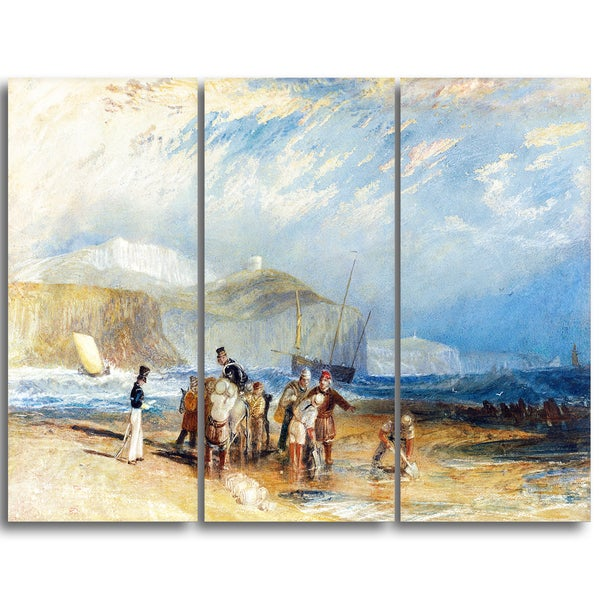 Design Art 'JMW Turner - Folkestone Harbour and Coast to Dover' Sea & Shore Canvas Art Print