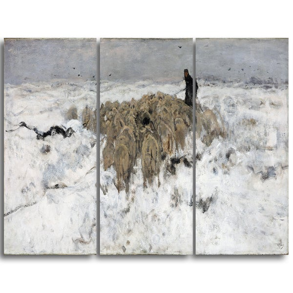 Design Art 'Anton Mauve - Flock of sheep with Shepherd' Sea & Shore Canvas Artwork