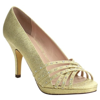 Beston Sanyo-03 Women's Stylish Glitter Rhinestone Deco Mid Heel Pumps