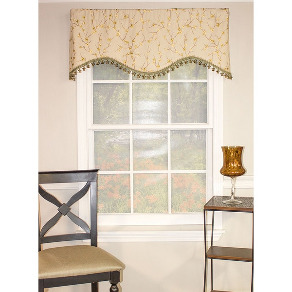 Bloom Green Floral Shaped Valance