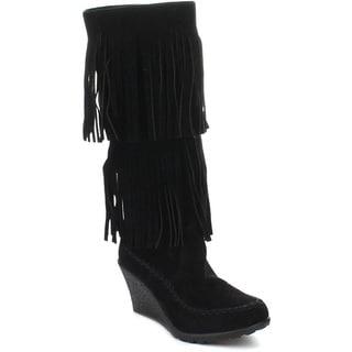 Beston Bernice-03 Women's Fashion Two Layers Fringe Moccasin Style Boots