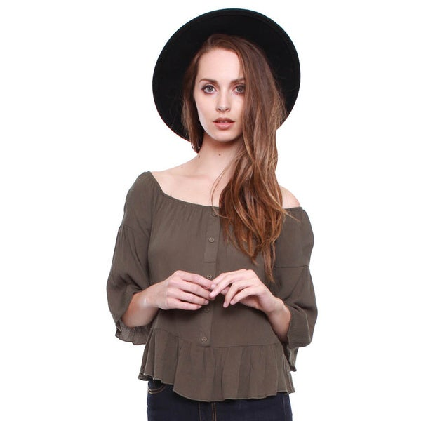 Beston Junior's Olive Off Shoulder Peasant Top