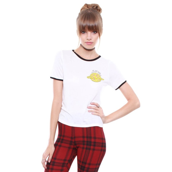 Junior's We Are From Planet Pizza White Crop Graphic Tee