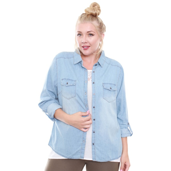 Junior's Light Denim Chambray Shirt