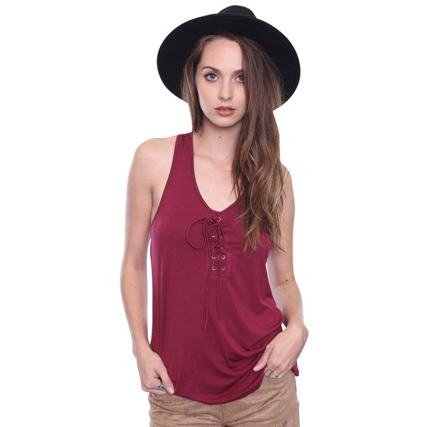 Beston Junior's Boho Burgundy Lace-up Front Top