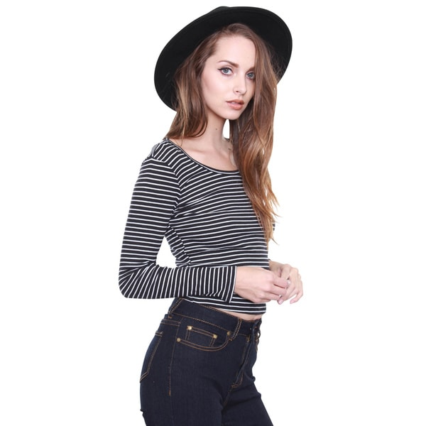 Beston Junior's Black and White Stripe Ribbed Top