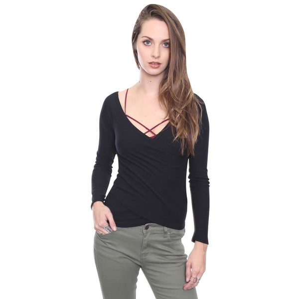 Beston Junior's Chic Black Ribbed Knit Top