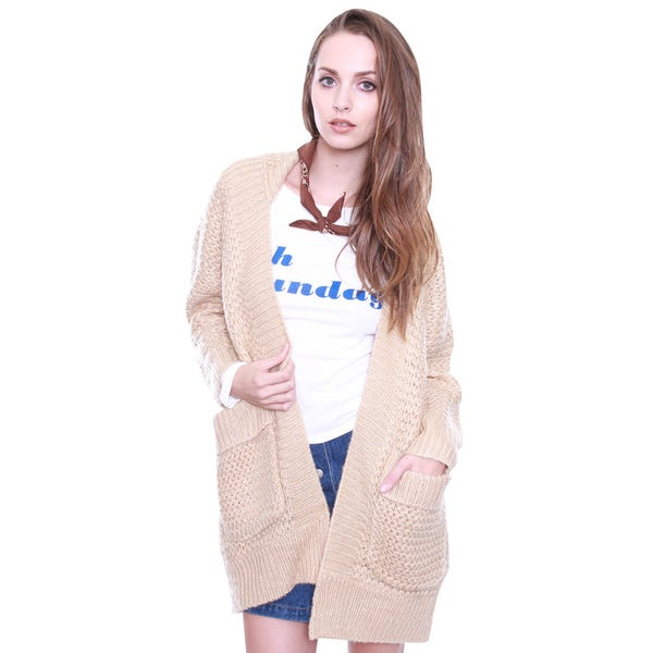 Beston Junior's Oversized Tan Knit Chunky Cardigan Sweater