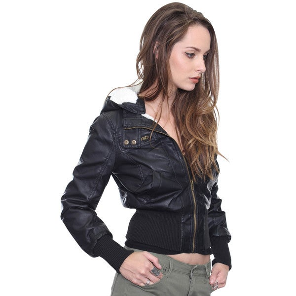 Beston Junior's Black Pu Leather Adjustable Hoodie Jacket