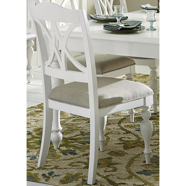 Summer Cottage White Splat Back Side Chair