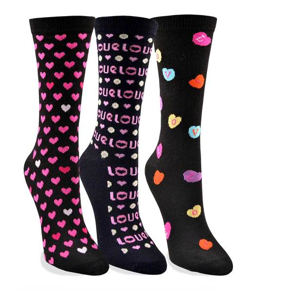 Women's Valentine's Day Heart Love Crew Socks 3-Pack