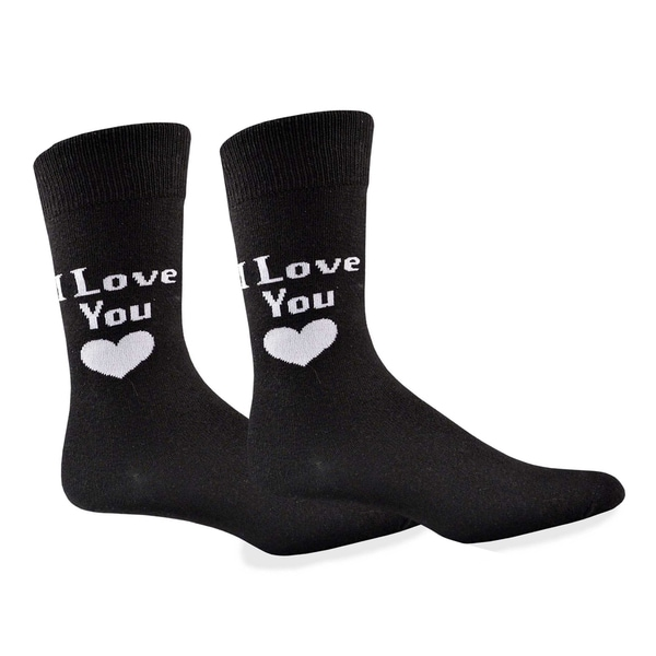 Men's Valentine's Day I Love You Cotton Crew Sock
