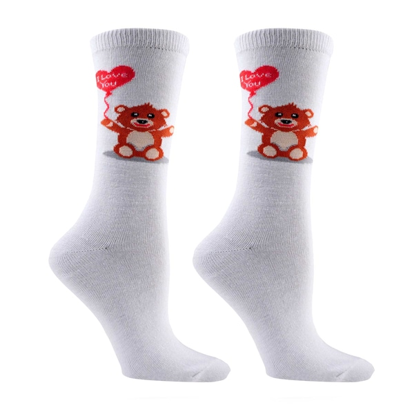 Women's Valentine's Day Teddy Bear Be Mine Cotton Crew Sock