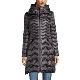 DL2 By Dawn Levy Women's 'Karen' Gunmetal Down Chevron Puffer Coat