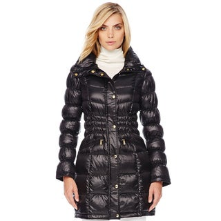 Michael Kors Women's Black Down Gathered Waist Packable Coat