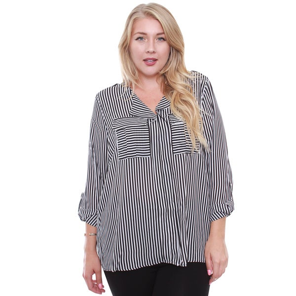 Junior's Striped Black and White Blouse
