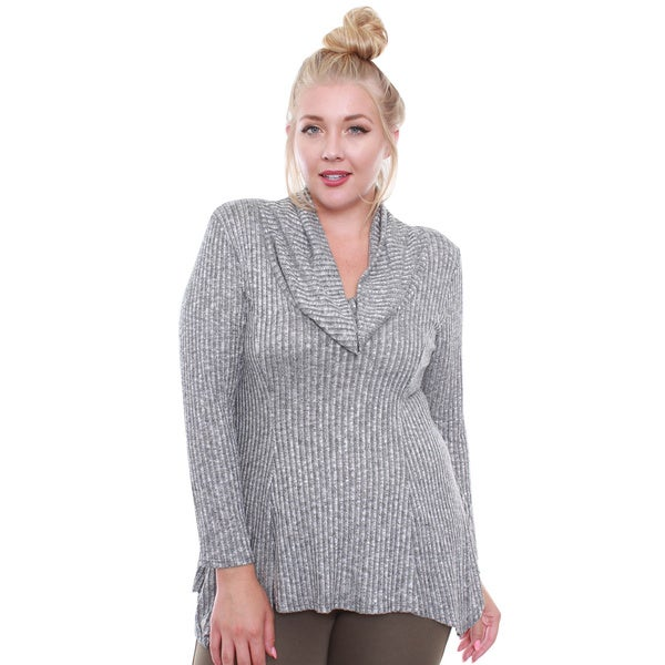 Junior's Grey Rib Droopy Turtleneck Plus-size Top