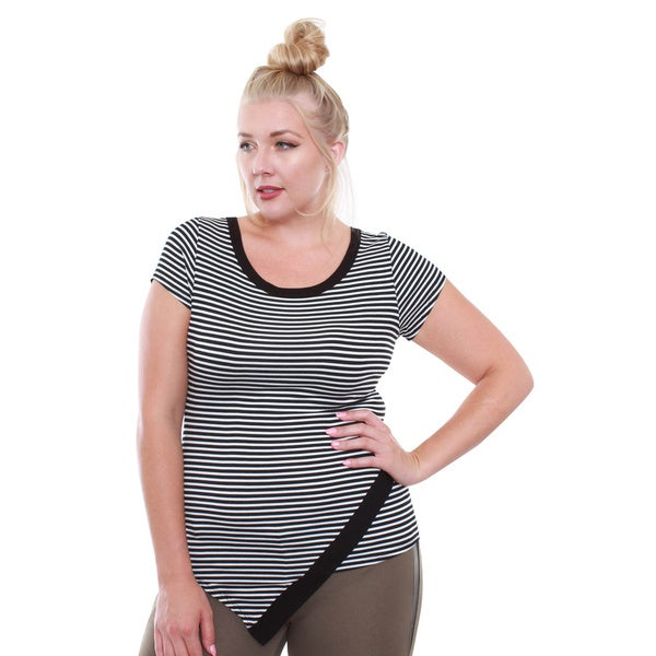 Junior's Black and White Stripe Plus Size Top