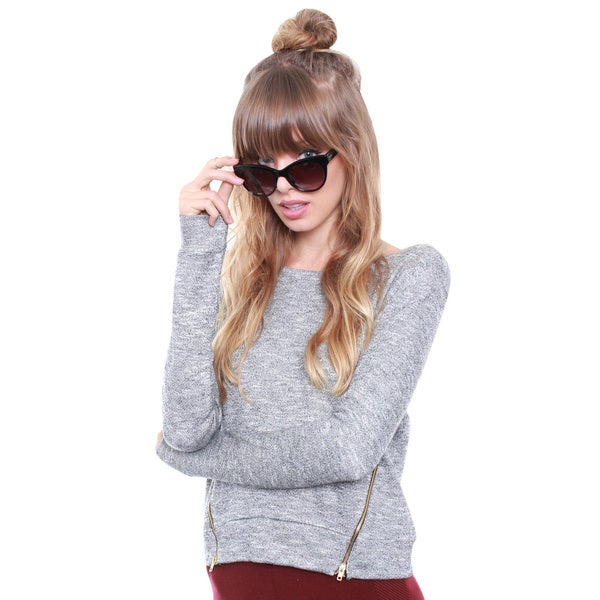 Junior's Grey Crop Sweatshirt W/ Zippers