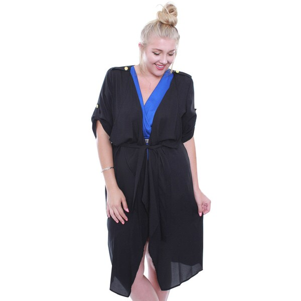 Junior's Chic Black Plus-size Trench