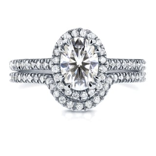 Annello 14k White Gold Oval Moissanite and 1/2ct TDW Diamond Halo Bridal Set (G-H, I1-I2)