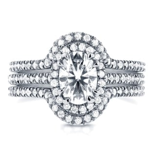 Annello 14k White Gold Oval Moissanite and 5/8ct TDW Diamond Halo 3-Piece Bridal Rings Set (G-H, I1-I2)