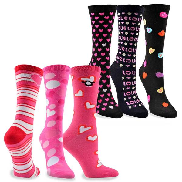 Women's Valentine's Day Hearts Love Crew Socks 6-Pack