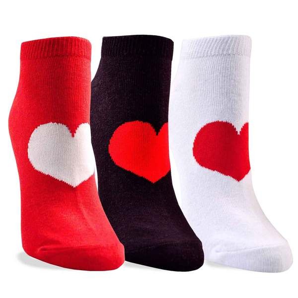 Women's Valentine's Day Big Heart Cotton No Show Socks 3-Pack