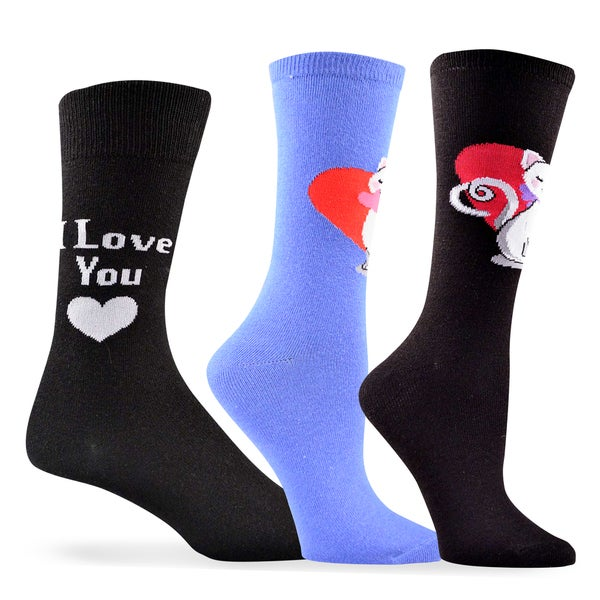 Women's and Men's Valentine's Day Cat Love Cotton Crew Socks 3-Pack