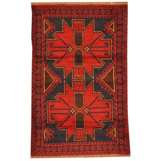 Herat Oriental Afghan Hand-knotted Tribal Balouchi Rust/ Navy Wool Rug (2'10 x 4'7)