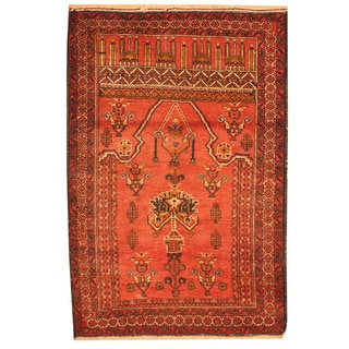 Herat Oriental Afghan Hand-knotted Tribal Balouchi Rust/ Brown Wool Rug (3' x 4'3)