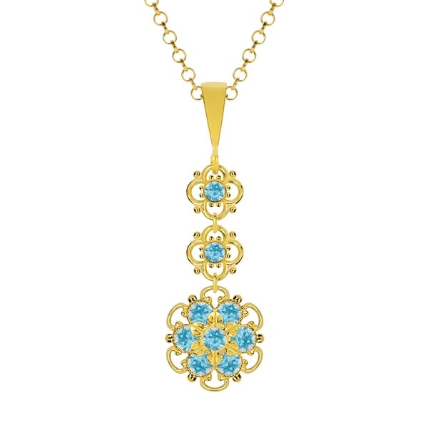 Lucia Costin Sterling Silver Light Blue Crystal Pendant 16437952