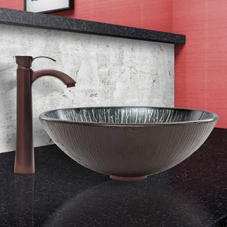 VIGO Enchanted Earth Glass Vessel Sink and Otis Faucet Set in Oil Rubbed Bronze