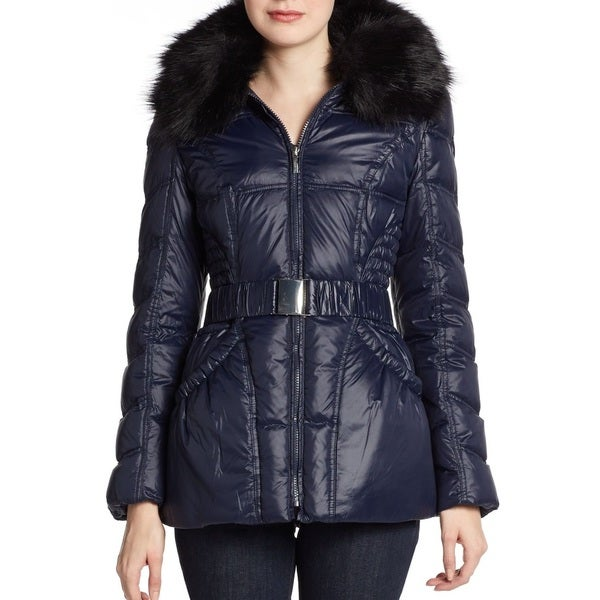 Laundry By Shelli Segal Women's Navy Blue Puffer Belted Hooded Down Jacket