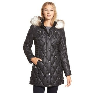 Laundry By Design Women's Black Quilted Parka