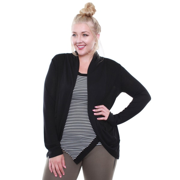 Junior's Black Hacci Cocoon Plus-size Cardigan