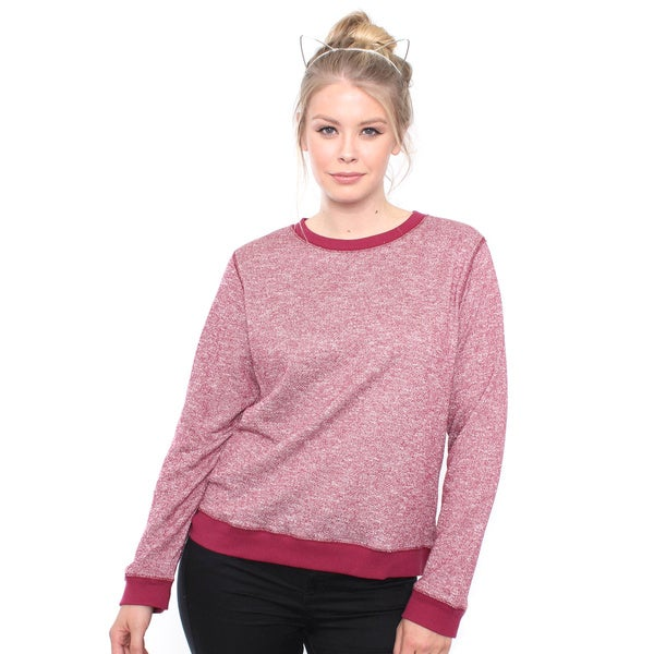 Plus Size Burgandy French Terry Sweater Top