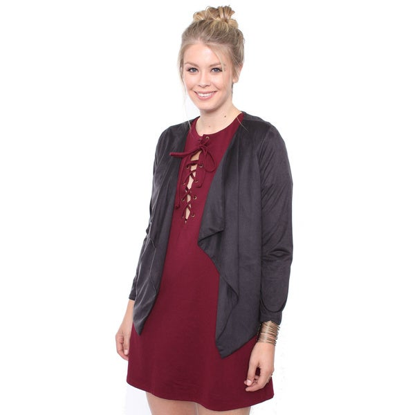Junior's Plus Size Grey Suede Draped Jacket