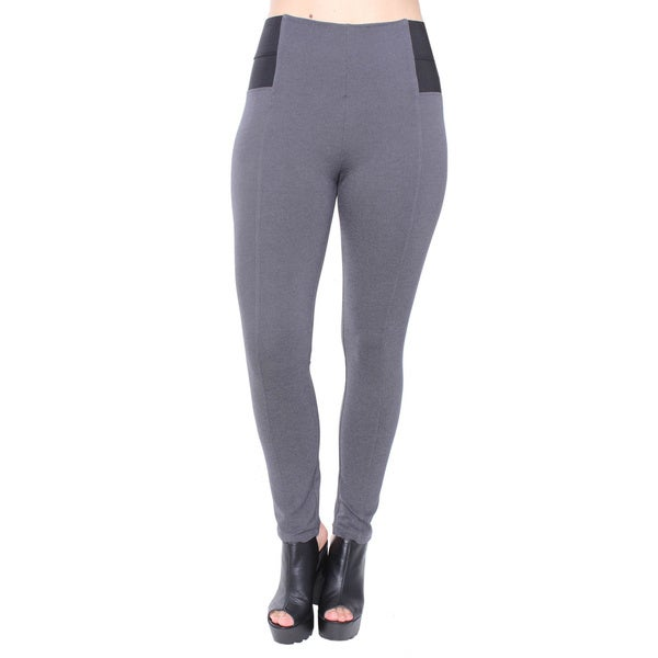 Plus Size Grey Span Ponte with Elastic Side Pants