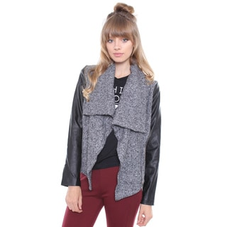Junior's Grey Drape Coat W/ Faux Leather Sleeves