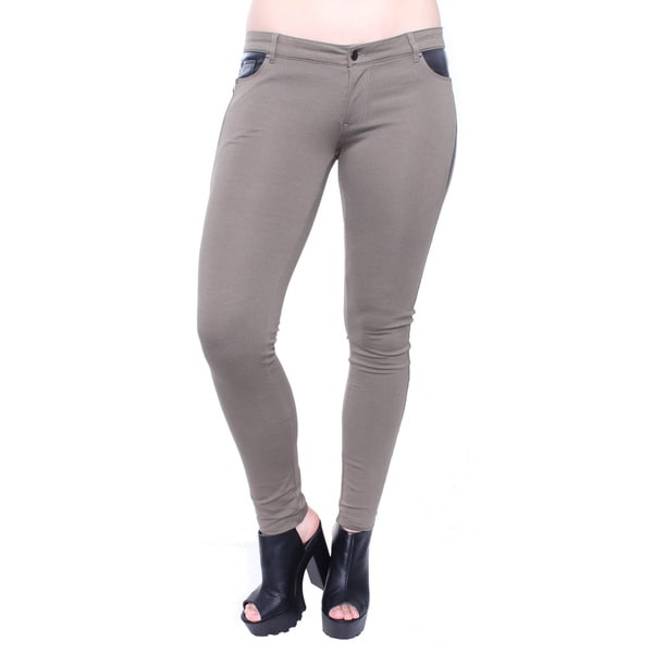 Plus Size Olive Ponte Skinny Pant with Leatherette Panels